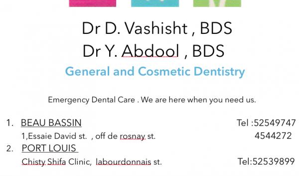 Dr Deepak VASHISHT / Dr Yusra ABDOOL (Beau Bassin, Mauritius